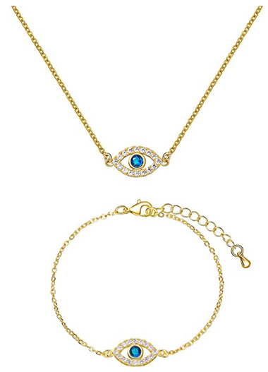 14K Gold Plated Evil Eye Bracelet/Necklace Set