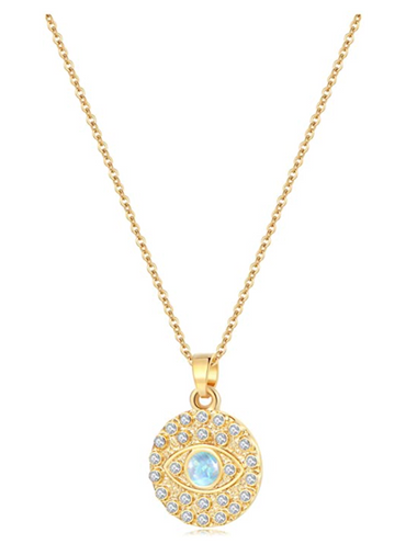 14K Gold Plated Evil Eye Round Moon Pendant Necklace