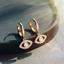 Load image into Gallery viewer, 18K Gold Plated Evil Eye Earrings