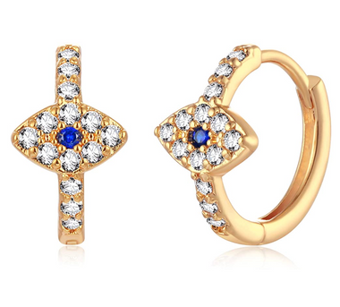 18K Gold Plated Evil Eye Huggie Hoop Earrings