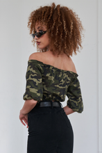 Load image into Gallery viewer, Olive Camouflage Off The Shoulder Mid-Length Puff Sleeve Crop Top