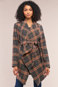 Grey Taupe Checkered Asymmetrical Self-Tie Belt Coat
