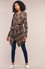 Load image into Gallery viewer, Grey Taupe Checkered Asymmetrical Self-Tie Belt Coat
