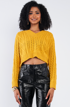 Load image into Gallery viewer, Mustard Long Sleeve V-Neck Cropped Sweater