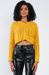 Mustard Long Sleeve V-Neck Cropped Sweater