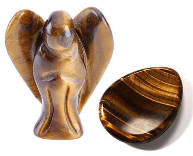 Tiger's Eye Pocket Angel + Thumb Worry Stone