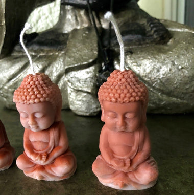 Bronze Buddha Set Of 3 Candles (Imperfections)