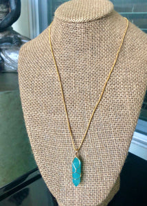 "14kt Gold Plated 18"" Amazonite Necklace"