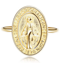Load image into Gallery viewer, 18kt Gold Plated Virgin Mary Adjustable Ring