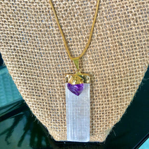 "14kt Gold Plated 18"" Selenite w/ Amethyst Necklace"