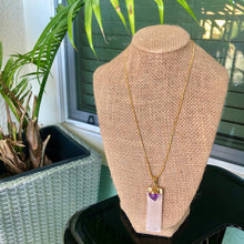 "Load image into Gallery viewer, 14kt Gold Plated 18"" Selenite w/ Amethyst Necklace"