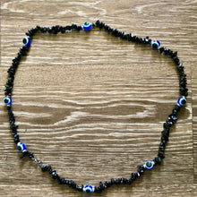 Load image into Gallery viewer, Black Tourmaline Evil Eye Single Strand Waist Bead