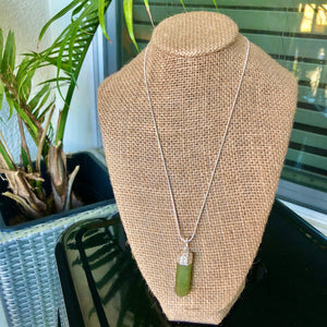 "Sterling Silver 18"" Green Aventurine Necklace"