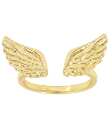 14kt Gold Plated Angel Wings Adjustable Ring