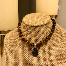 "Load image into Gallery viewer, Tiger's Eye ""Namaste"" Pendant Choker"