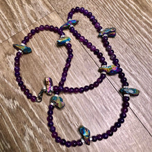 Load image into Gallery viewer, Amethyst w/ Aurora Borealis Rainbow Hematite Spike Beads- Single Strand Waist Bead