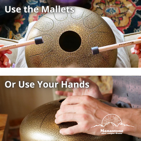 How to play a Manastone steel tongue drum with mallets and hands