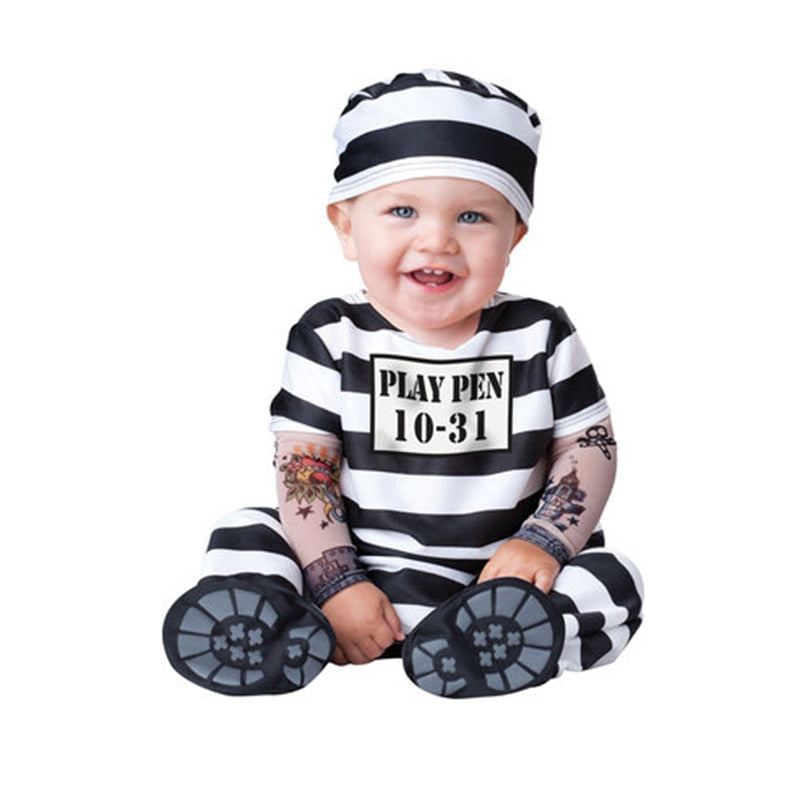 Baby Boy Kid Striped Prison costume - Halloween USA