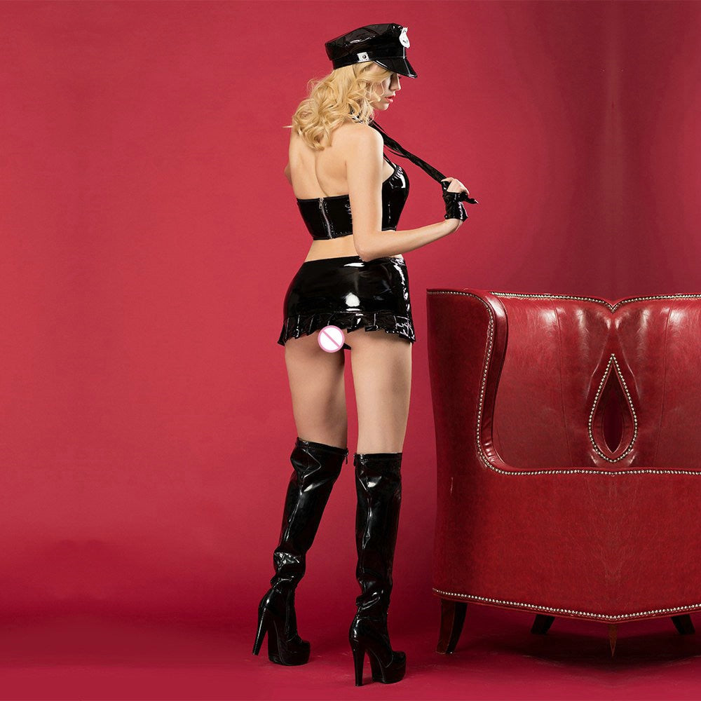 Latex Sexy Police Costume - Halloween USA