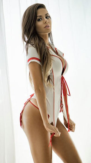 Sexy Lace Up Front Fancy Bodysuit Nurse Costume - Halloween USA