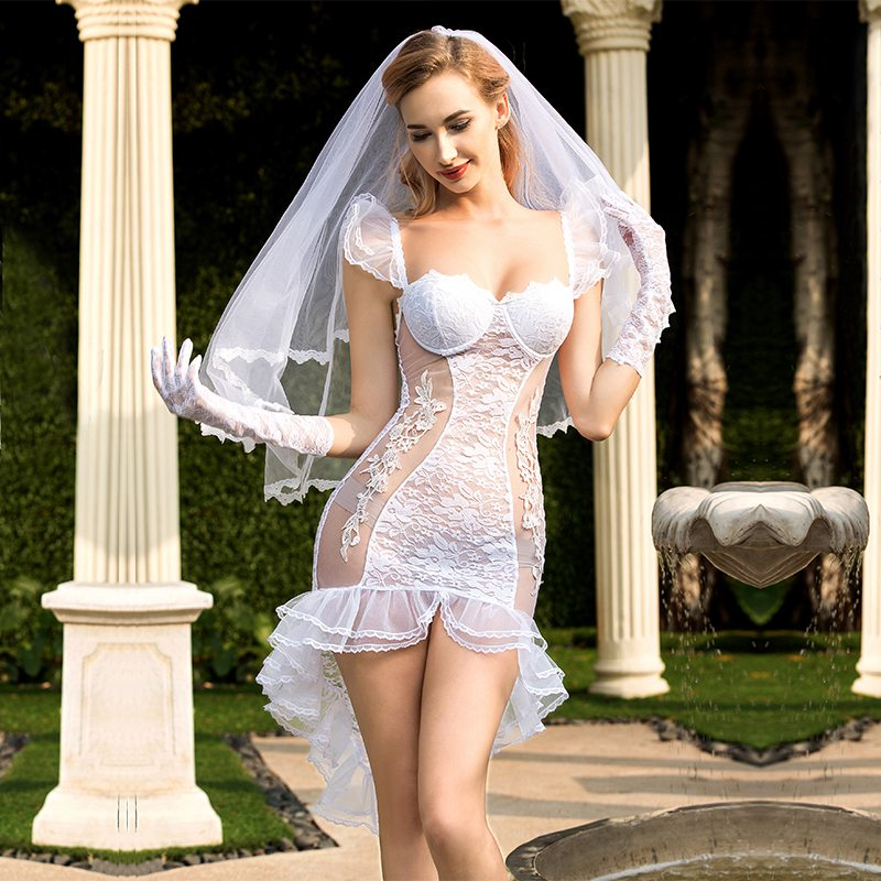 See Through Sexy Bride Wedding Dress Costume - Halloween USA