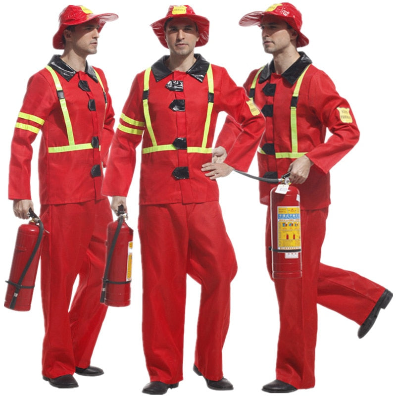 Red Adult Fireman Costume - Halloween USA