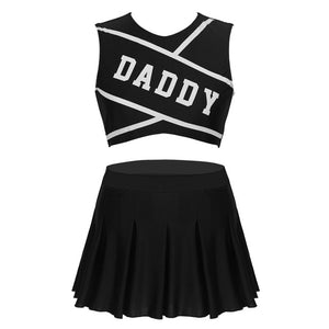 Daddy Cheerleader Costume  Crop Top with Mini Pleated Skirt - Halloween USA