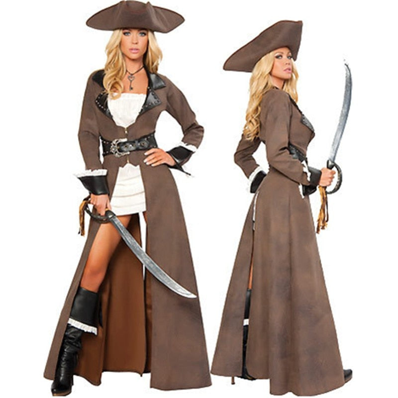 The Pirate of Caribbean Women Brown Pirates Costume - Halloween USA