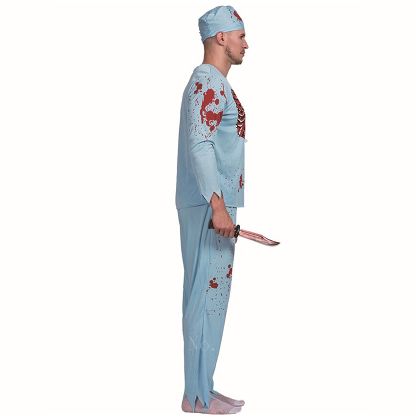 Halloween Scary Costumes Adult Man Surgical Mad Doctor Cosplay Clothes Bloody Skeleton Carnival Masquerade Zombie Costume