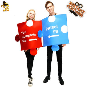 New Arrival Couples Puzzle Piece Costume Cosplay Carnival Party Dress up Men&Women Red&Blue Puzzle Halloween Costumes