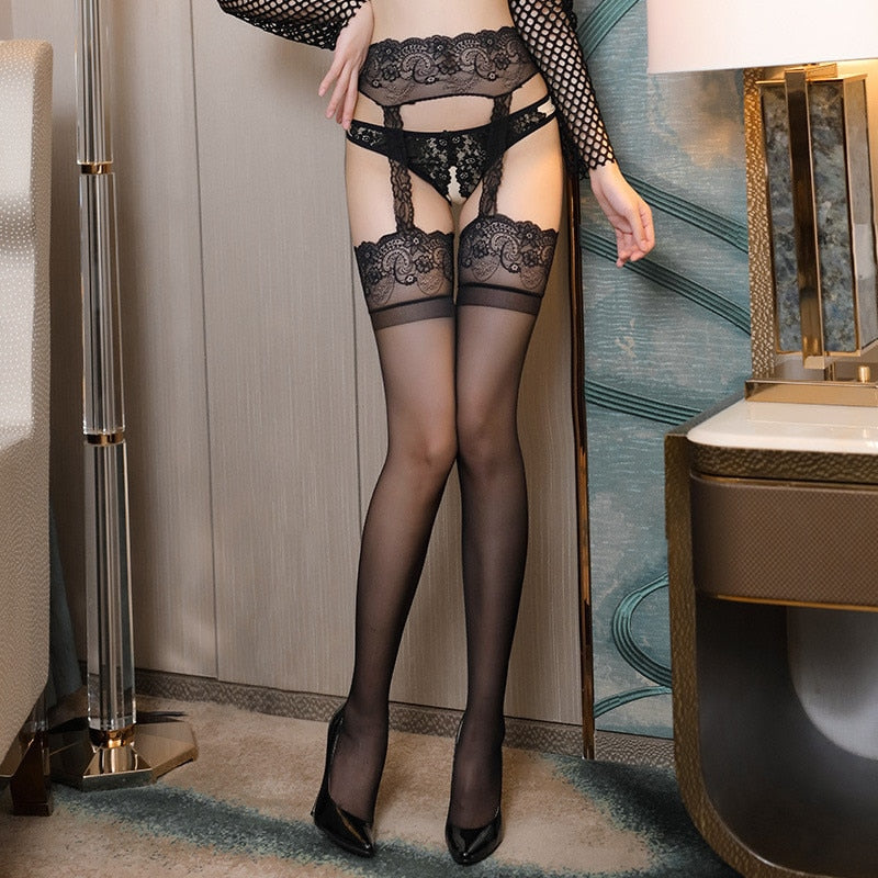 Sexy Lace Top Thigh High Stockings With Garters - Halloween USA