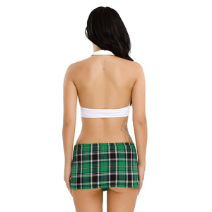 Mini Top with Plaid Skirt Tie Cheerleader Costume - Halloween USA