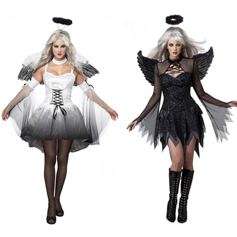 Black Fallen Angel With Halo and Wings Costume