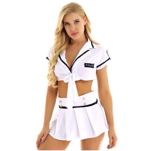 Sexy Policewoman Costume  with Pleated Mini Skirt - Halloween USA