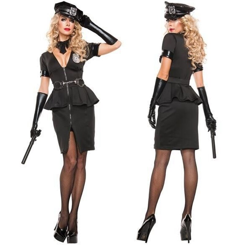 Sexy Black Police Officer Costume - Halloween USA