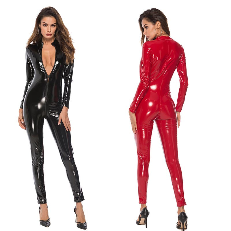 Latex Look Faux Leather  Catsuit - Halloween USA