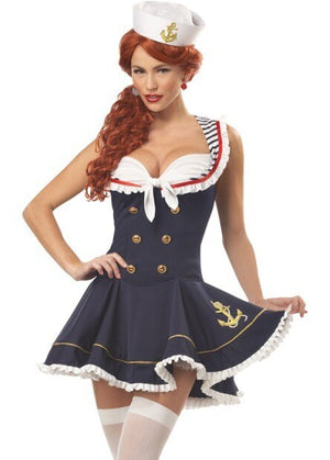 Sexy Halloween Women's Sailor Costume High Navy Blue Sailor Costumes - Halloween USA