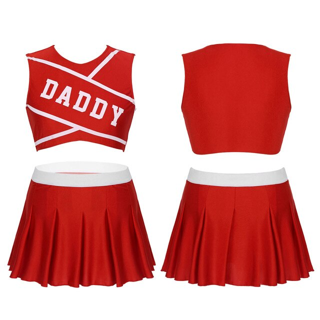Cheerleader Costume Sleeveless Crop Top with Mini Pleated Skirt - Halloween USA