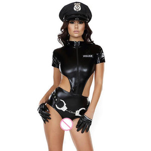 Ladies PVC Policewomen  Costume - Halloween USA