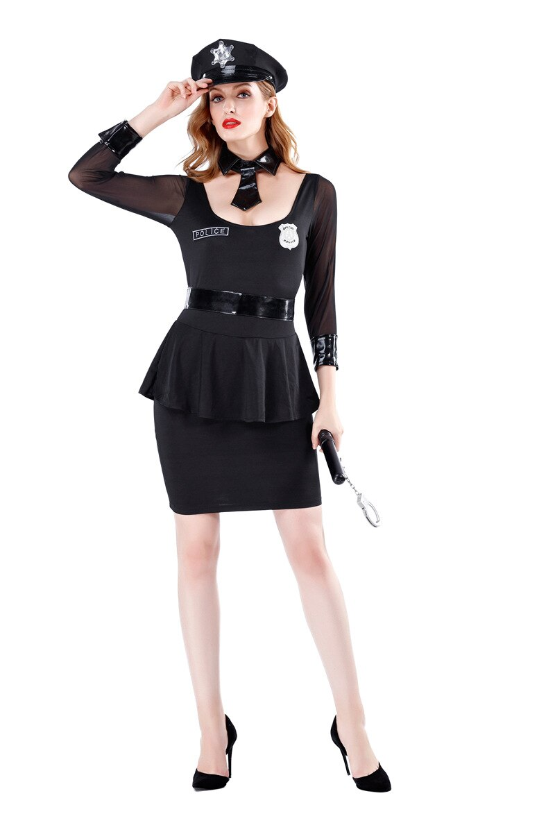 Long Sleeve Policewomen Costume - Halloween USA