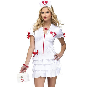 Nurse Costume White With Red Big Red Bow - Halloween USA