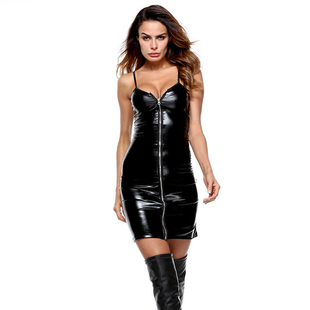 Zipped up Faux Leather Mini Club Party Dress - Halloween USA