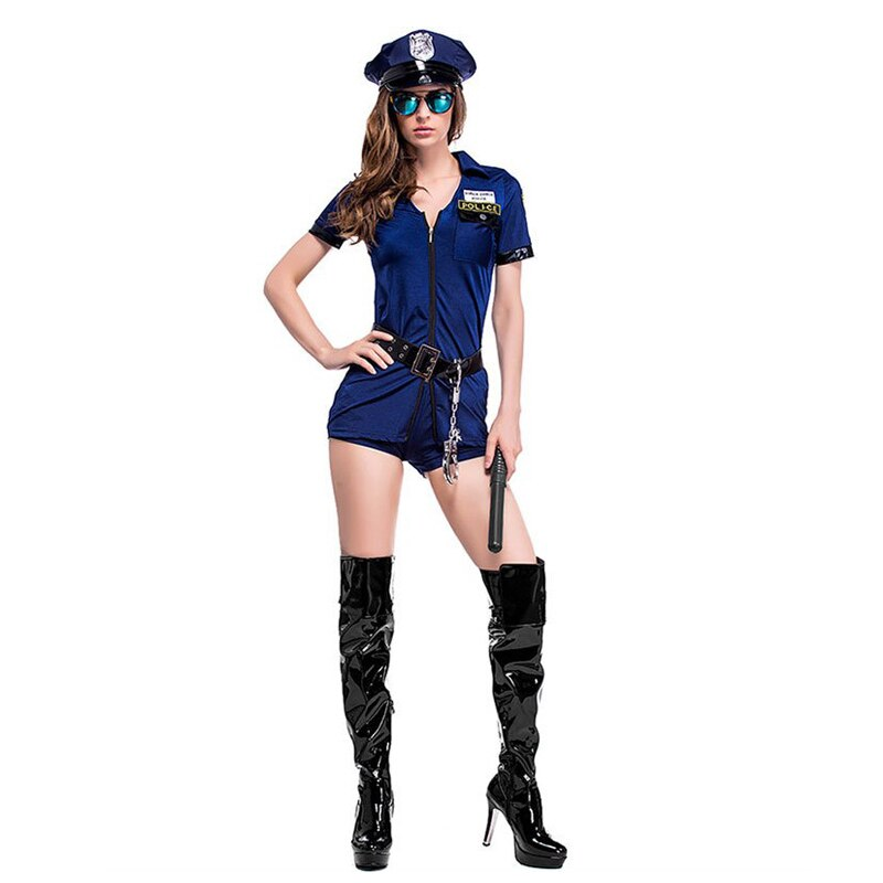 Ladies Cop Police Officer Bodysuit costume - Halloween USA