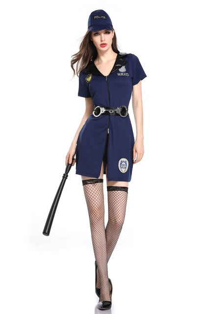 Black Sexy Female Police Officer Uniform - Halloween USA