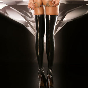 Sexy Wet Look Zipper Stockings  Black PVC Latex - Halloween USA