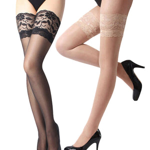 Sexy Lace Top Silicone Stay Up Thigh High Stockings - Halloween USA