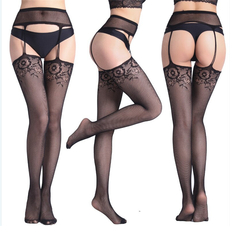 Lace Suspender Garter Belt  Thigh-High Stockings - Halloween USA