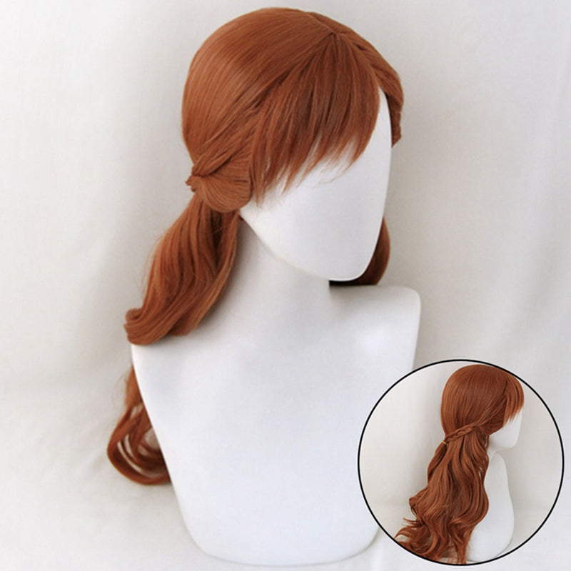 Princess Braid  Long Brown Synthetic Wig + Wig Cap - Halloween USA