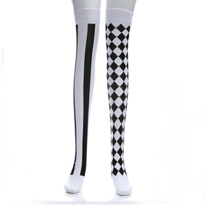 Black White Plaid Knee-High Elastic Durable Long Stockings - Halloween USA