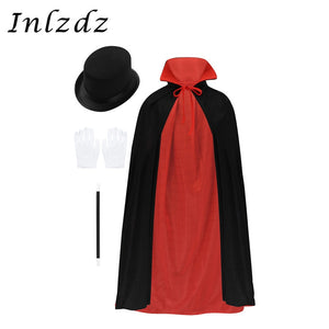 Boys Magician  Costume with  Cape Hat and  Magic Wand and  Gloves Set - Halloween USA